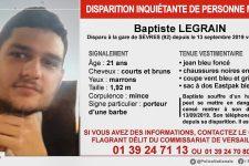 Appel à témoins: disparition de Baptiste Legrain